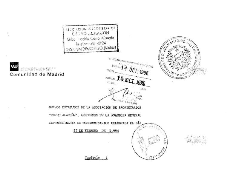 Los estatutos de la urbanización Cerro Alarcón