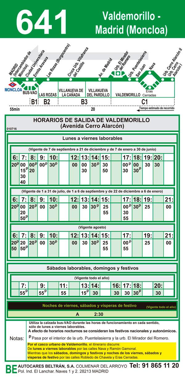 Horario autobuses Cerro Alarcon - Madrid 641
