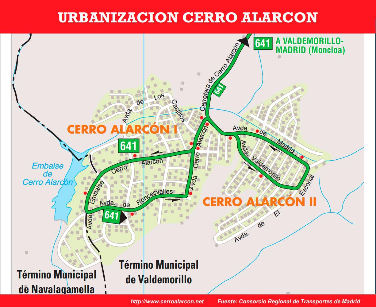Plano ampliado ruta autobuses en la urbanización Cerro Alarcón