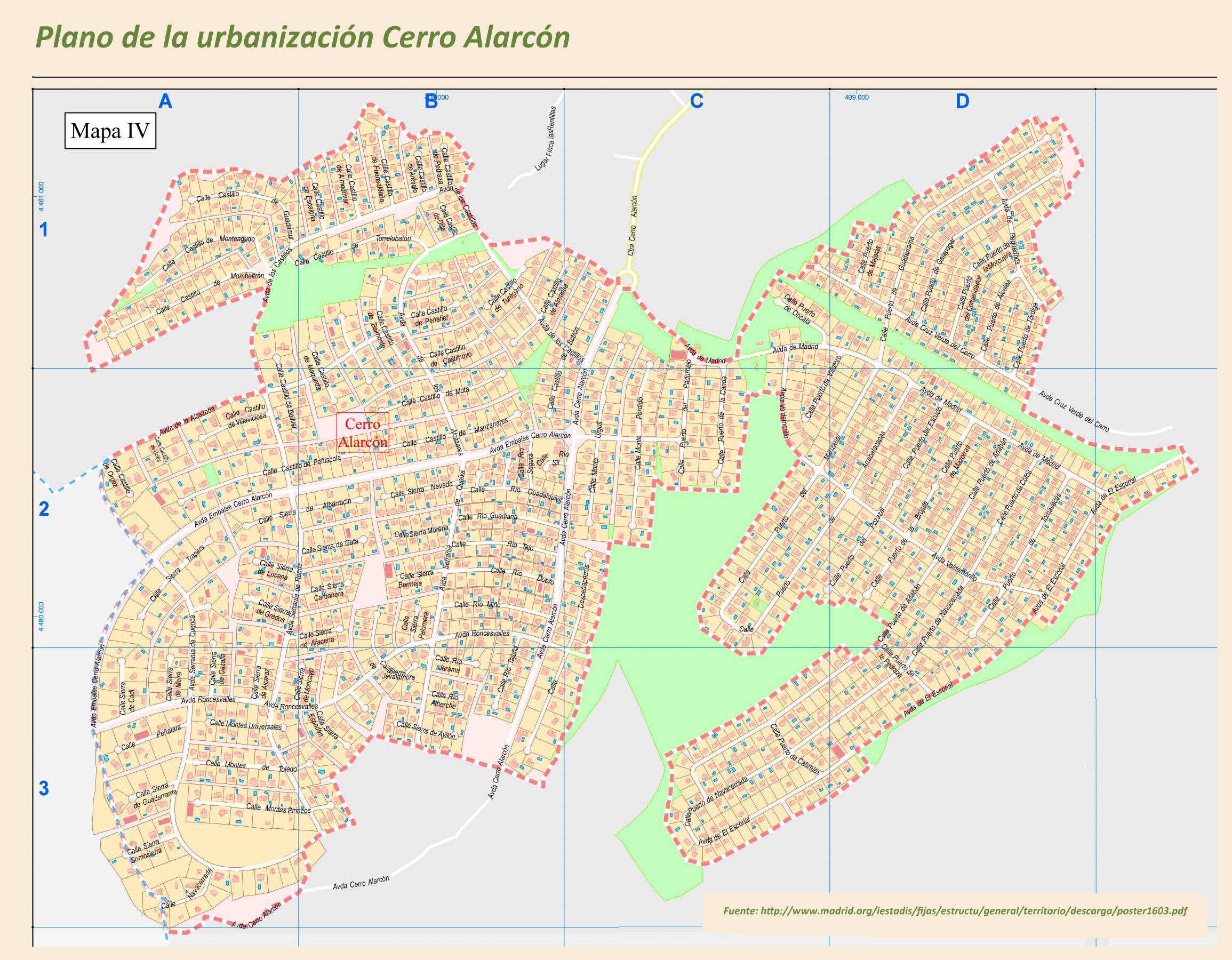 Planos de las urbanizaciones Cerro Alarcón I y II