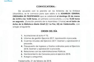 Asamblea propietarios 25 de marzo