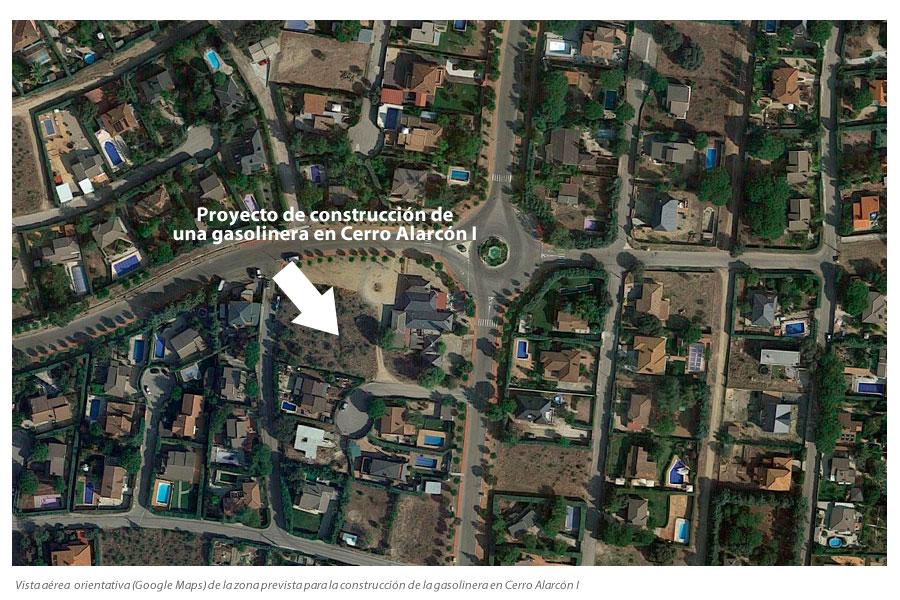 Zona prevista de construcción de la gasolinera