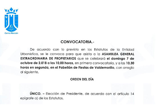 Convocatoria Asamblea General Extraordinaria domingo 7 de octubre 2018