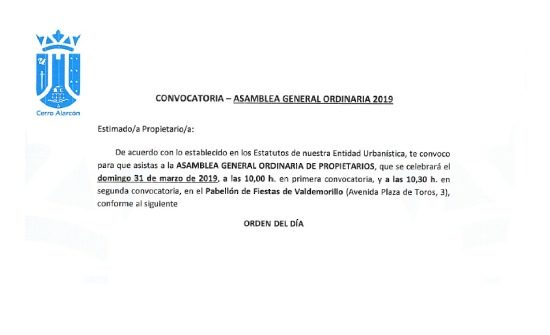 Asamblea General Ordinaria 31 de marzo de 2019 Cerro Alarcón I