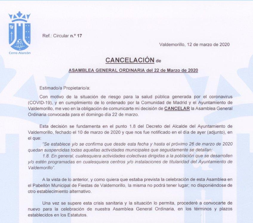 cancelación de la asamblea general por el riesgo de coronavirus