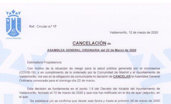 Cancelación Asamblea General de Cerro 1 por riesgo de coronavirus