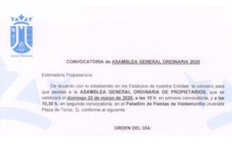 Convocatoria asamblea general Cerro Alarcón 1 2020